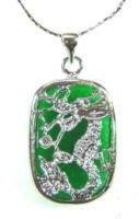 Silver Jade Dragon Pendant Necklace