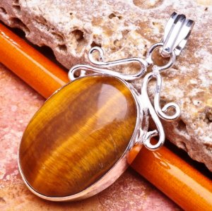Silver Tiger's Eye Pendant Necklace [style2]