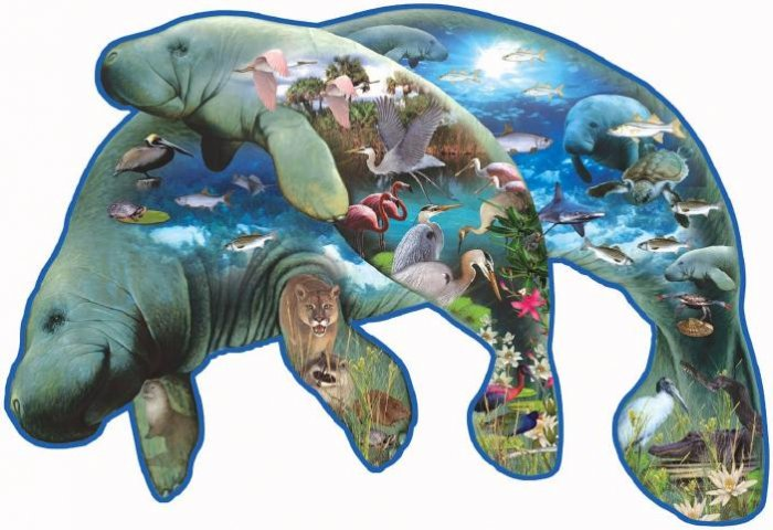 Manatees - 1,000 piece Shaped SunsOut puzzle - for Ages 12+