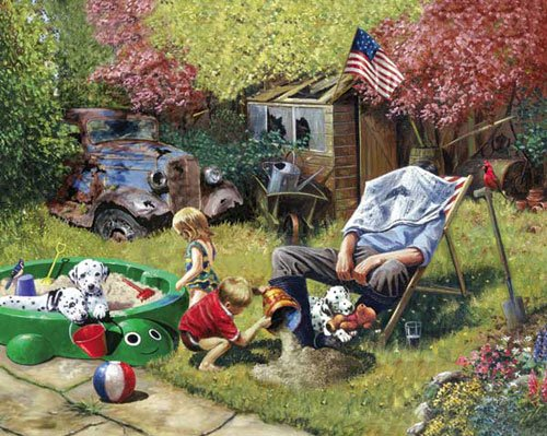 Grampa Watches the Kids - 1,000 piece White Mountain puzzle - for Ages 12+