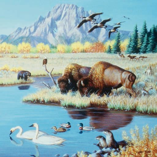 Buffalo at the Pond - 500 piece SunsOut puzzle - for Ages 12+