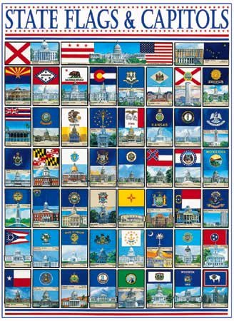 State Flags and Capitols - 1,000 piece White Mountain puzzle - for Ages 12+