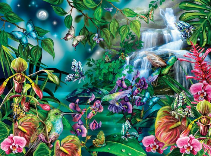After Midnight - Hummingbirds, Butterfies, Orchids - 1,000 piece puzzle - for Ages 12+