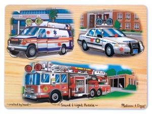 Emergency Vehicles Light & Sound Puzzle - 9 piece Melissa & Doug peg puzzle - Ages 3+