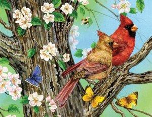 A Cardinal Pair - 1,000 Large Piece SunsOut puzzle - for Ages 12+