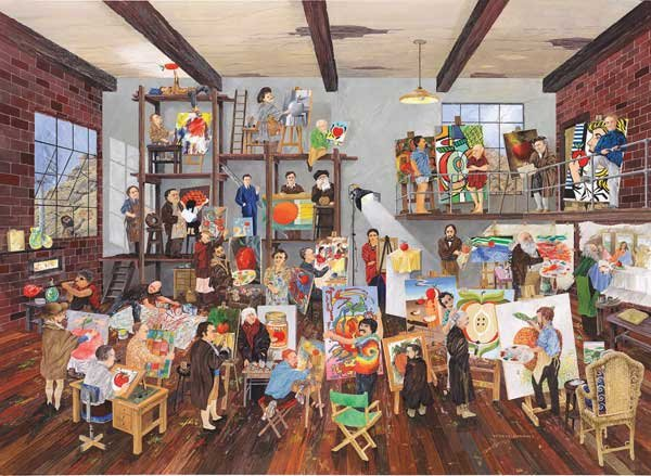 The Apple of His Eye: 1 apple: 37 artists! - 1,500 piece SunsOut puzzle - for Ages 12+