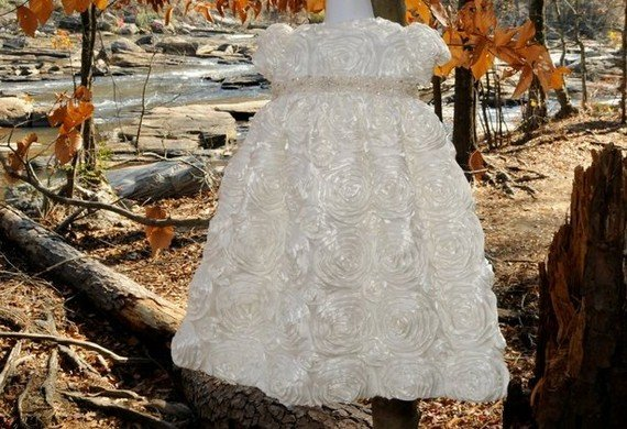 White Rosette Handmade Christening Baby Blessng Baptismal Gown 2T