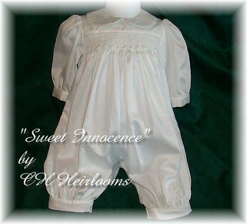 Sweet Custom Cotton Satin Boys Smocked Romper Newborn
