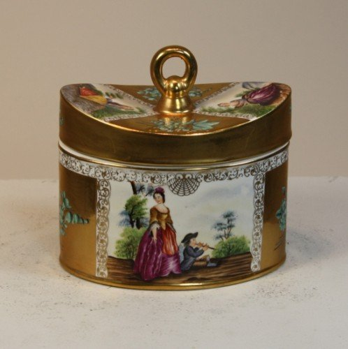 SWEET HAND PAINTED FRENCH PORCELAIN TEA CADDY