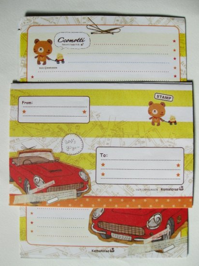 Cute Ccomotti Bear and Car Letter Set