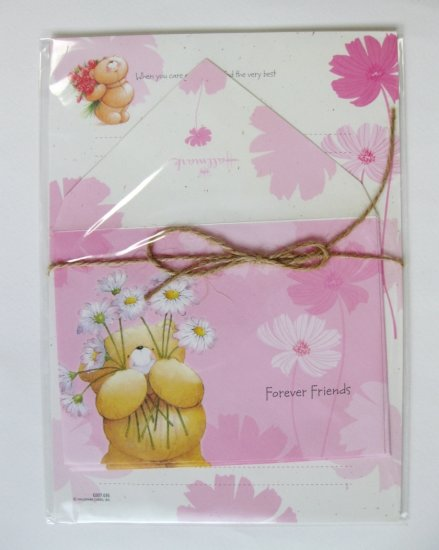 Cute Pink Daisy and Forever Friend Bear Letter Set