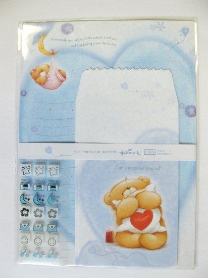 Cute Blue Forever Friend Bear and Moon Hallmark Korea Letter Set