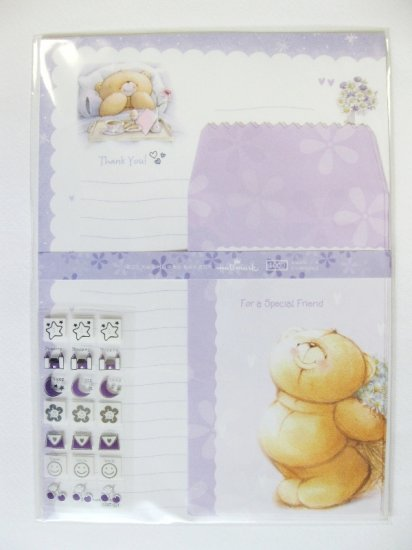 Cute Purple Forever Friend Bear Breakfast On Bed Hallmark Korea Letter Set