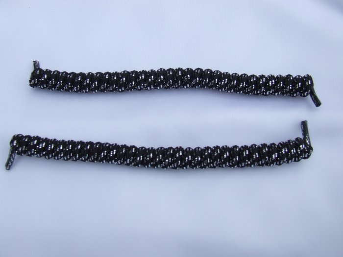 Black with Silver Glitter Elastic Stretch Curly Shoelaces - Spring Laces, Coilers, NO-TIE