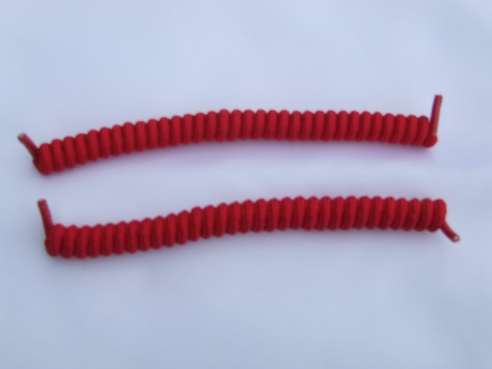 Red Elastic Stretch Curly Shoelaces - Spring Laces, Coilers, No-Tie Red