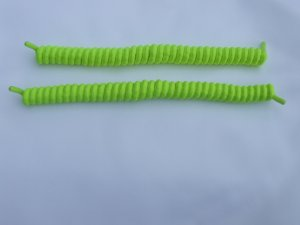 Neon Yellow Curly Shoelaces -  Coilers, Tennis Ball Color