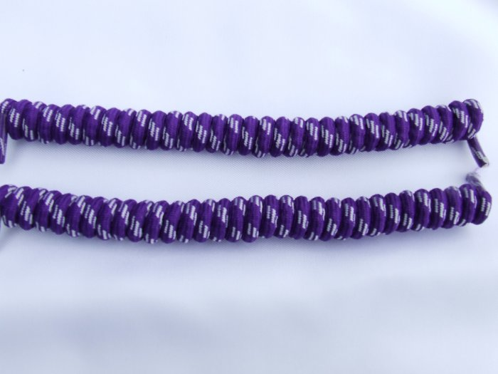 Dark Purple / White Elastic Stretch Curly Shoelaces -  Coilers, Purple with Grey