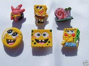 SpongeBob Shoe Charms Croc Decorations Includes Patrick, Spongebob, Gary - Set of 6