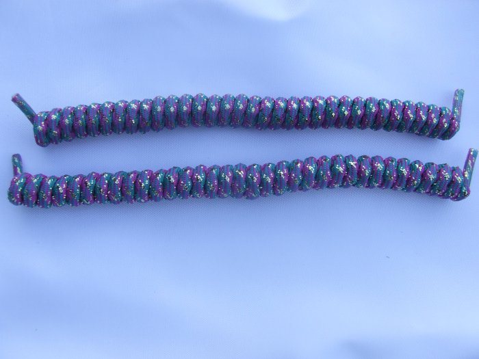 Purple, Teal & Gold Glitter Elastic Stretch Curly Shoelaces - Spring Laces, Coilers, NO-TIE