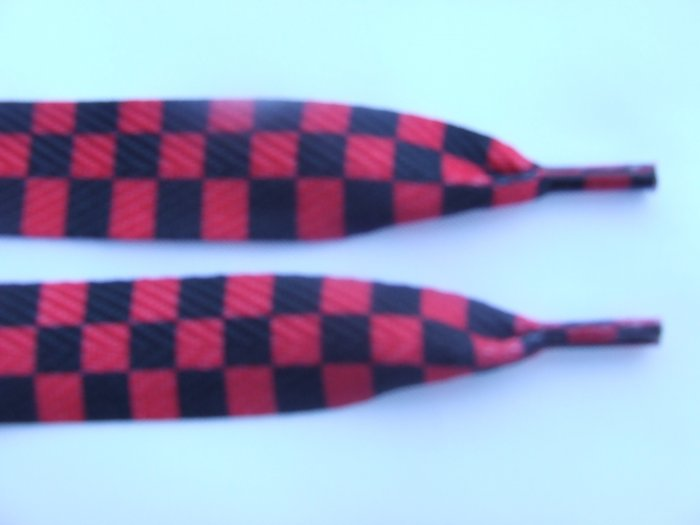 "Red / Black Checkered Pattern 48"" Shoelaces, Wide, Fat"