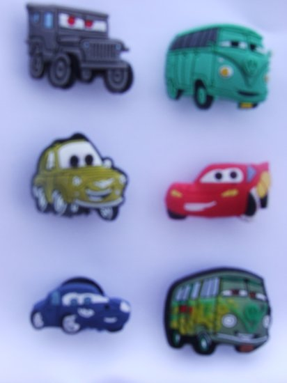 CARS Lightning McQueen Shoe Tow Mater Doc Hudson Volkswagon Van Charms Set of 6