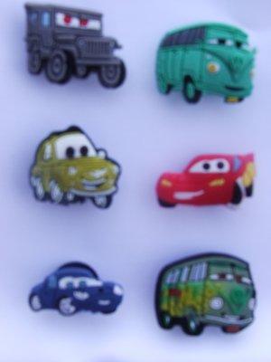 CARS Lightning McQueen Shoe Tow Mater Doc Hudson Volkswagon Van Charms Set of 6