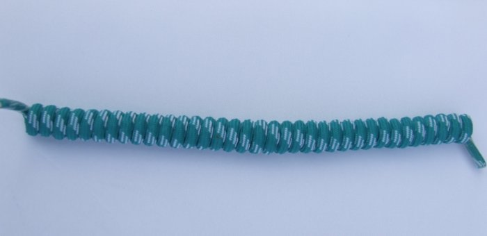 Teal / Turquose with White Elastic Stretch Curly Shoelaces - Spring Laces, Coilers, NO-TIE