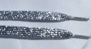 """Silver Glitter Shoelaces, Silver Metallic Shoelaces 43""""  (43 inch)"""
