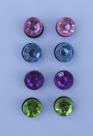 Jeweled Bling Shoe Charms for Crocs Set of 8 Pink Yellow Purple Blue