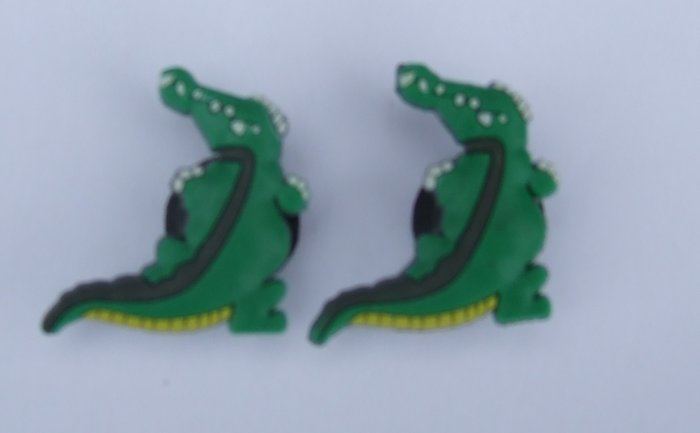 Green Alligators Shoe Charms Croc Decoration Set of 2