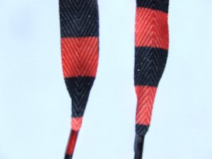 """Black and Red Striped Shoelaces Wide Fat 48""""  Shoelaces (48 inches) Half Inch Wide"""
