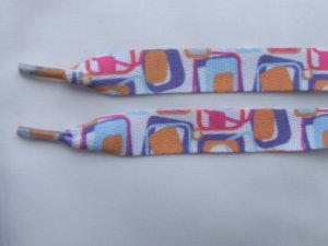 "Square Patterned 48"" Shoelaces with Orange, Purple, Blue, Pink Squares"