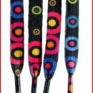 "Black Shoelaces With Pink Green, Blue, Yellow Circle Pattern Shoelaces 47"" (47 inches)"