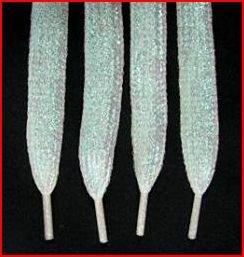 """White Glitter Shoelaces ~ White Glitter Shoelaces 47""""  (47 inch)   Shiny Metallic Shoelaces"""