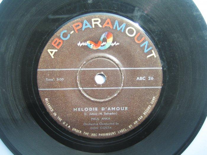 Paul Anka 7in single ABC Paramount