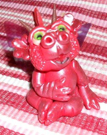 Handcrafted Original Art Sculpture Polymer Clay Dragon PR00337