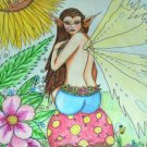 Color Pencil Drawing Original Art 9inx12in (22.9cmx30.5cm) Title In the Garden print