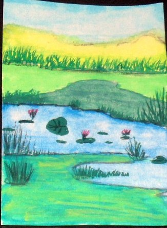 ACEO Original Art Card the size 3.5 inches by 2.5 inches of a trading card Title Tranquility