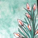 ACEO Original Art Card the size 3.5 inches by 2.5 inches of a trading card Title Flowers