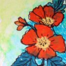 ACEO Original Art Card the size 3.5 inches by 2.5 inches of a trading card Title Flowers2