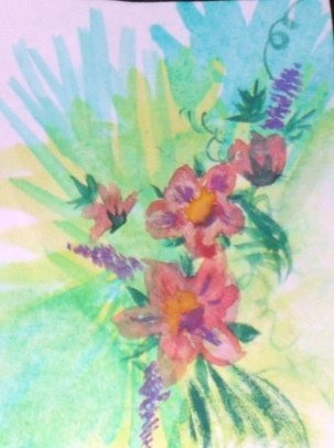 ACEO Original Art card 3.5 inches by 2.5 inches. the size of a trading card Title Flowers4