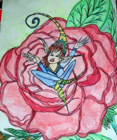 Watercolor Original Art 9inx12in (22.9cmx30.5cm) Title Hiding In The Rose