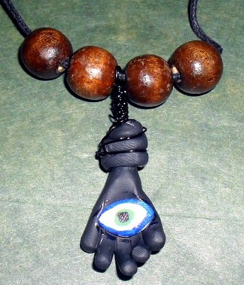 Handcrafted Original Art Sculpture Polymer Clay Jewelry Azabache Hand ,EYE Necklace PR005790