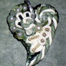 Handcrafted Original Art Sculpture Polymer Clay Jewelry Heart Pendant PR00977
