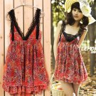 New double v-neck flowers red mini chiffon dress size XS/S