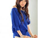 Sexy off-shoulder buttons womens cotton top/blouse t-shirt one size