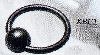 Blackline Closure Ring with Hematite Ball