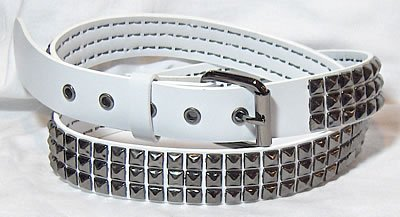 3 Row Pewter Pyramid White Belt