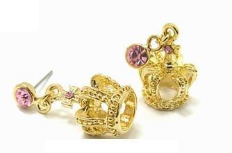 SILVER Crown Blue Crystals Princess Earrings Stud