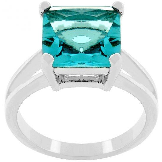 Princess Cut Aquamarine Crystal Solitaire Ring in Rhodium White Gold Silver Tone